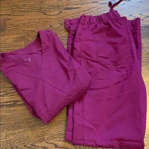 Greys Anatomy maroon scrub set